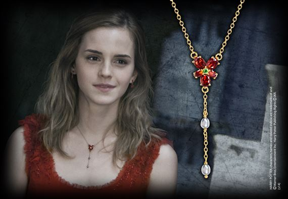 Hermione Red Crystal Necklace, Gold Plated