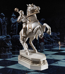 Wizard Chess Knight Bookend- White