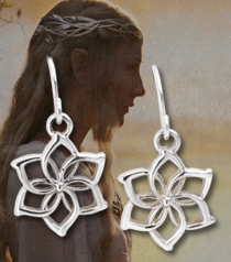 Galadriel Flower Earrings, Sterling Silver