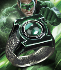 Green Lantern Sterling Emblem Ring